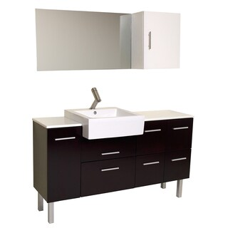 Fresca Serio Espresso Modern Bathroom Vanity with Mirror and Side Cabinet