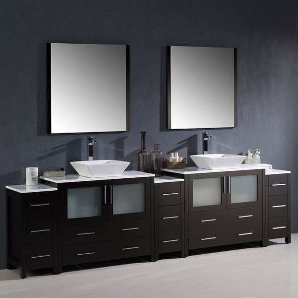 double sink bathroom vanity with 3 side cabinets and vessel sinks