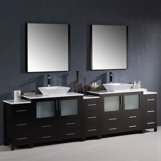 Fresca Torino 108-inch Espresso Modern Double Sink Bathroom Vanity with 3 Side Cabinets and Vessel Sinks