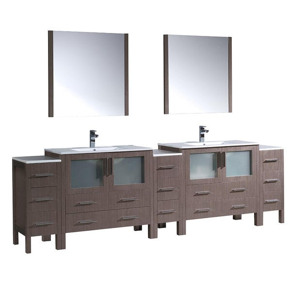 Fresca Torino 108 Inch Gray Oak Double Sink Bathroom Vanity