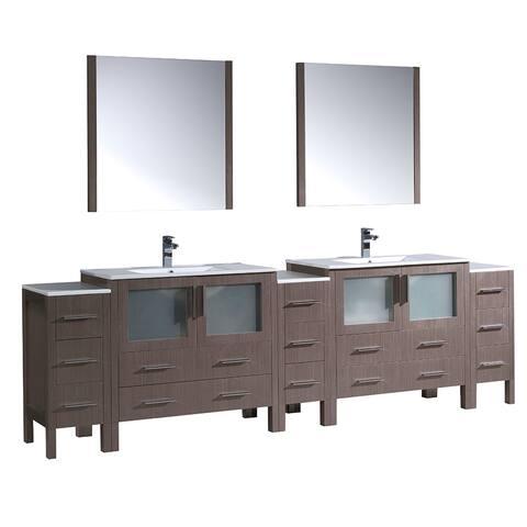 Fresca Torino 108-inch Gray Oak Double-sink Bathroom Vanity