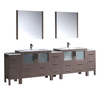 Fresca Torino 108-inch Gray Oak Double-sink Bathroom Vanity