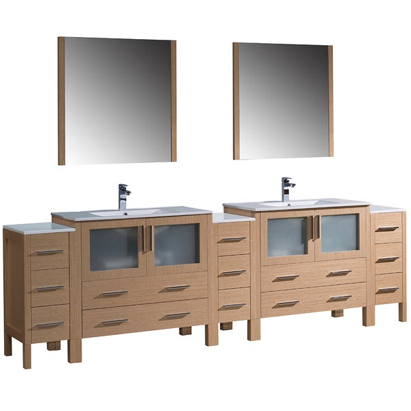 Fresca Torino 108 Inch Light Oak Modern Double Sink Bathroom Vanity With 3 Side Cabinets