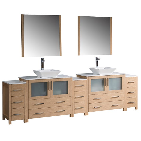 Bathroom Vanity Lighting Concept For Modern Houses: Shop Fresca Torino 108-inch Light Oak Modern Double Sink