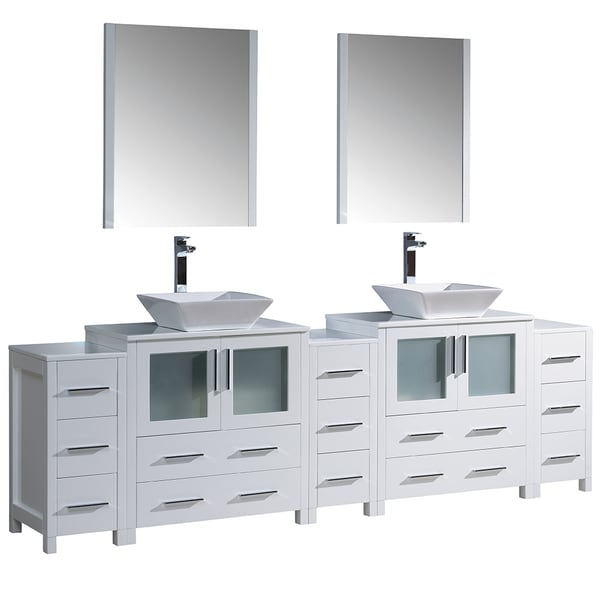 Fresca Torino 108 Inch White Modern Double Sink Bathroom Vanity With 3 Side Cabinets And