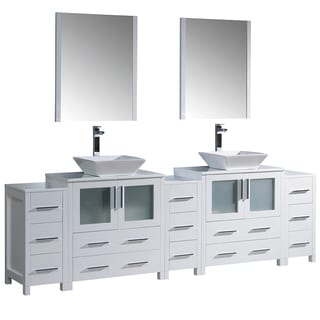 Fresca Torino 108 White Modern Double Sink Bathroom Vanity W 3 Side Cabinets Integrated