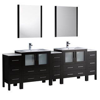 Fresca Torino 96-inch Espresso Modern Double Sink Bathroom Vanity with 3 Side Cabinets and Integrated Sinks
