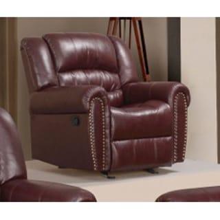 Meridian Burgundy Chelsea Dual Reclining Rocker Chair with Nailhead Detail