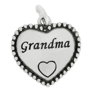 Sterling Silver Beaded Grandma Heart Charm Pendant on 18-inch Box Chain