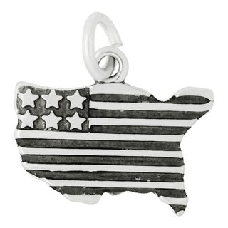 Sterling Silver USA Flag Charm Pendant