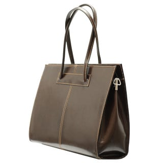 Deleite by Sharo Brown Leather 16-inch Laptop Tote Bag