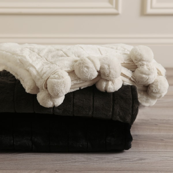 Aurora Home Luxe Mink Faux Fur Pom Throw Blanket