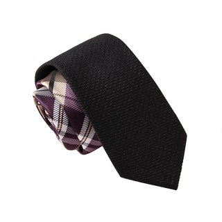 Skinny Tie Madness Men's Banditory Black Plaid Solid Bias Tie