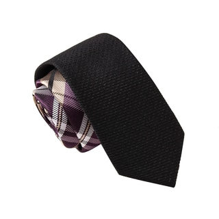 Skinny Tie Madness Men's Banditory Black Plaid Solid Bias Tie