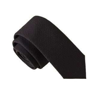 Skinny Tie Madness Men's Alligator Black Solid Tie with Pen