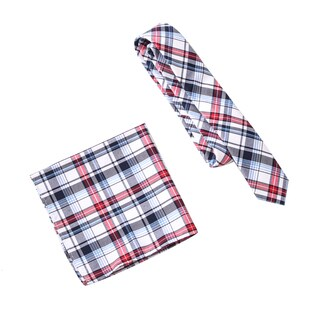 Skinny Tie Madness Men's Too Late for Room Service Multi Plaid Tie Pocket Square