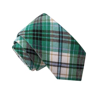 Skinny Tie Madness Men's Magnum Scotch Green Plaid Plaid Tie