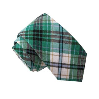 Skinny Tie Madness Men's Magnum Scotch Green Plaid Plaid Tie