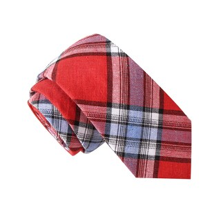 Skinny Tie Madness Men's Victory Smoke Red Plaid Plaid Tie