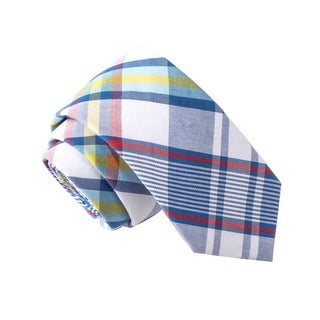 Skinny Tie Madness Men's Cheers to Your Mother Blue Plaid Plaid Tie