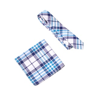 Skinny Tie Madness Men's 2 Skinny 2 Furious Blue Plaid Tie with Pocket Square