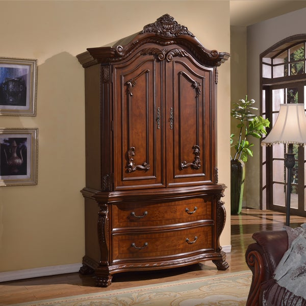 Shop Meridian Cherry Finish Luxor Solid Wood Armoire ...
