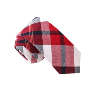 Skinny Tie Madness Men's Rectal Angle Red Plaid Tie