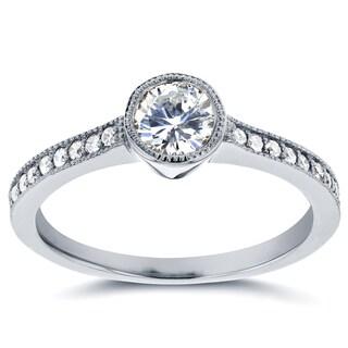 Annello by Kobelli 14k White Gold 3/4ct TDW Bezel Diamond Milgrain Engagement Ring