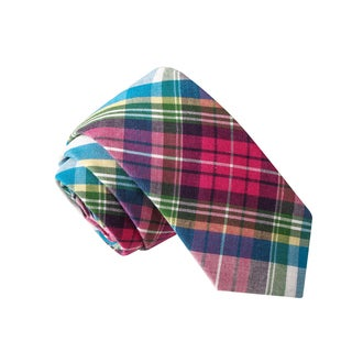Skinny Tie Madness Men's Dodgeball Champion Pink Plaid Tie