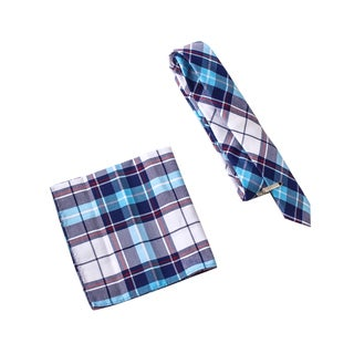 Skinny Tie Madness Men's Incest Repellant Blue Plaid Tie with Clip Pocket Square