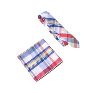 Skinny Tie Madness Men's Crotchbusters Multi Plaid Tie with Clip Pocket Square