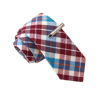 Skinny Tie Madness Men's Steak Milkshake Red Plaid Tie with Tie Clip