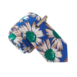 Skinny Tie Madness Men's Classy Action Blue Flower Print Floral Tie with Clip