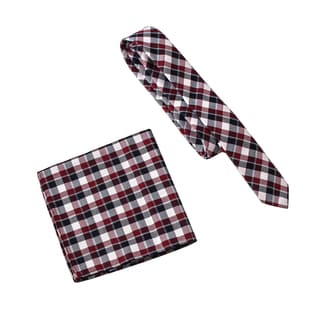 Skinny Tie Madness Men's Sting Like Butterfly Red Black Plaid Tie Pocket Square