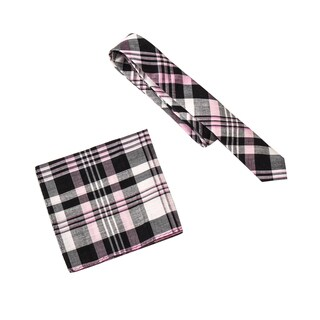 Skinny Tie Madness Men's Tony Harding's Bad Side Multi Plaid Tie Pocket Square