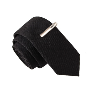 Skinny Tie Madness Men's Varsity Spy Black Solid Solid Tie with Tie Clip