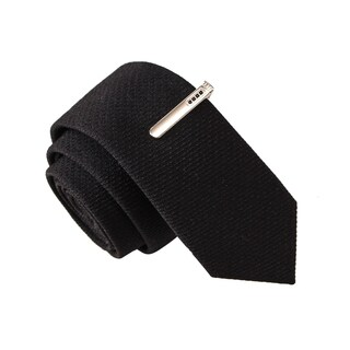 Skinny Tie Madness Men's Varsity Spy Black Solid Solid Tie with Tie Clip