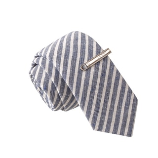 Skinny Tie Madness Men's Foosball Fool Navy Striped Chambray Tie with Tie Clip
