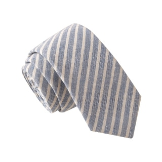 Skinny Tie Madness Men's Registered Sex Offender Blue Striped Chambray Tie