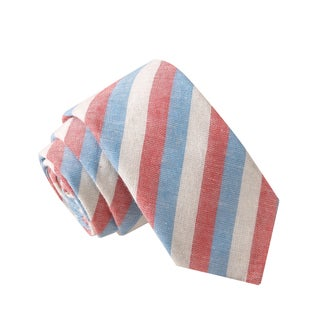 Skinny Tie Madness Men's Toothpick in a Volcano Multi Color Striped Chambray Tie