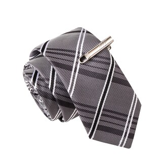 Skinny Tie Madness Men's Gin and Tonica Black Plaid Tie with Tie Clip