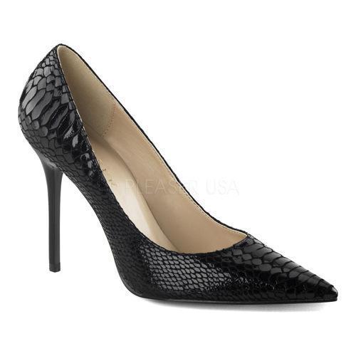 Women's Pleaser Classique 20SP Pointed Toe Pump Black Snake Print Leather