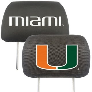 Fanmats Miami Hurricanes Collegiate Charcoal Head Rest Covers Set of 2