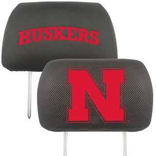 Fanmats Nebraska Cornhuskers Collegiate Charcoal Head Rest Covers Set of 2