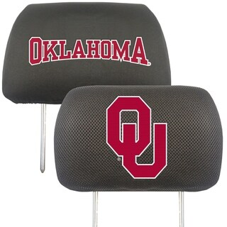 Fanmats Oklahoma Sooners Collegiate Charcoal Head Rest Covers Set of 2