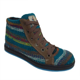 Handmade Andiz Womans Size-5 Handmade Multi-colored High-top Wool Shoes (Ecuador)