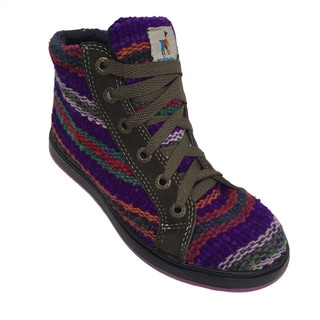 Andiz Women's Size-5 Handmade Multi-colored High-top Wool Shoes (Ecuador)
