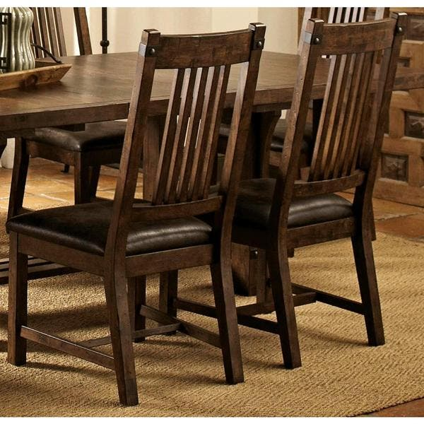 Rimon Solid Wood Mission Style Rustic Dining Chairs (Set of 2)