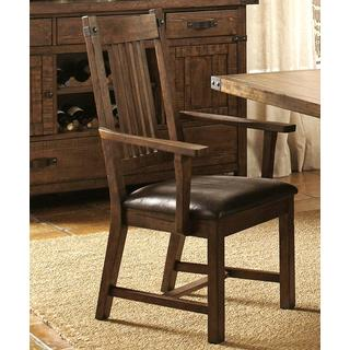 Rimon Solid Wood Mission Style Rustic Dining Arm Chairs (Set Of 2)