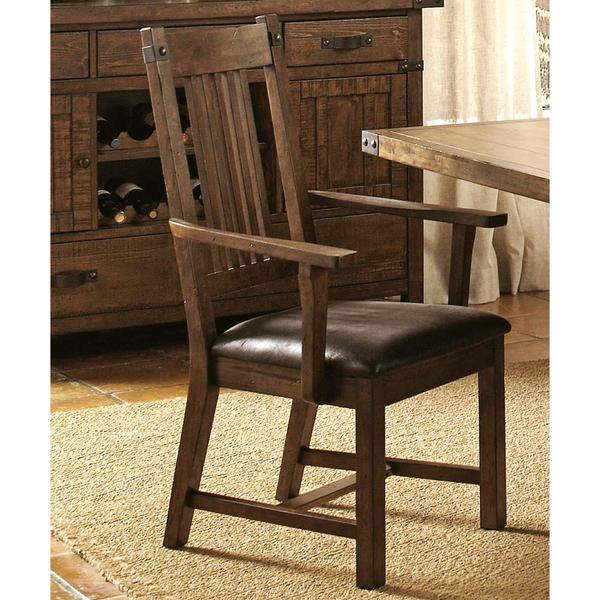 rimon solid wood mission style rustic dining arm chairs set of 2 - Rustic Dining Set